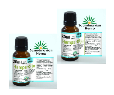Hampaolja Mynta, Scandinavian Hemp. 400 mg cannabinoider - 20 ml, 2-PACK