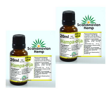 Hampaolja Citrus, Scandinavian Hemp. 400 mg cannabinoider - 20 ml, 2-PACK