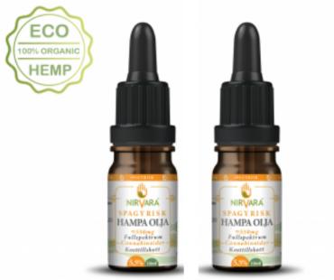 Hampaolja Spagyrisk 5,5% cannabinoider, Nirvara. 10 ml, 2-PACK