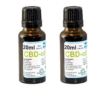 CBD olja, Scandinavian Hemp. 400 mg - 20 ml, Mynta 2-PACK