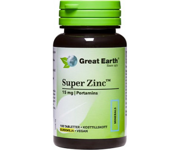 Super Zinc, Great Earth. 15 mg - 100 tabletter