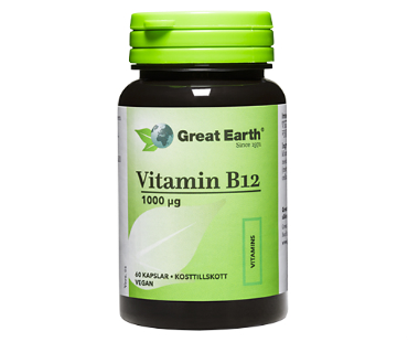 B12 Vitamin, Great Earth. 1000 mcg - 60 kapslar