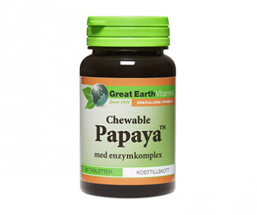 Papaya tuggtablett, Great Earth. 90 tab