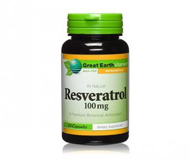 Resveratrol, Great Earth. 100 mg - 60 kap