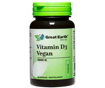 Vitamin D3 Vegan, Great Earth. 3000 IE/75 mcg - 60 kapslar