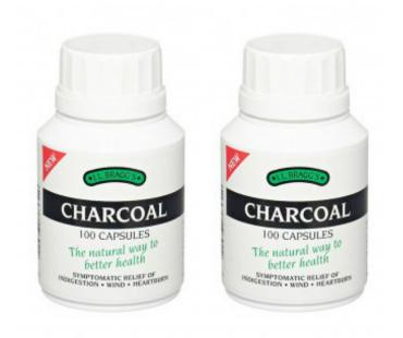 Aktivt kol, Charcoal. 300 mg - 100 kaps, 2-PACK
