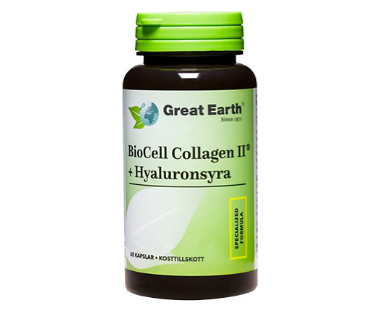 Biocell Collagen II + Hyaluronsyra, Great Earth. 60 kap