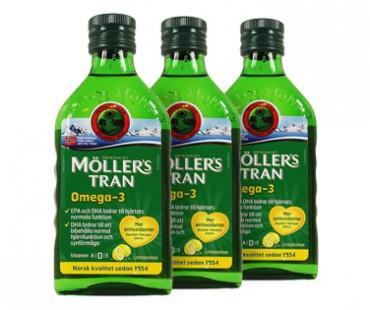 Möllers Tran - torskleverolja. 250 ml, 3-PACK