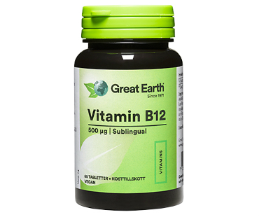 B12 Vitamin, Great Earth. 500 mcg - 60 sugtabletter