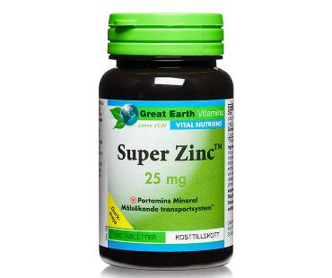 Super Zinc, Great Earth. 25 mg - 100 tabletter