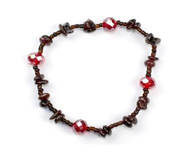 Granat enkelt armband, mineralsten och pärlor - Passion