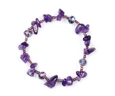 Ametist enkelt armband, mineralsten och pärlor - Lugnande