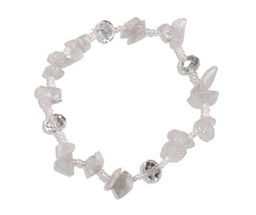 Bergskristall - enkelt armband - mineralsten och pärlor - Helande & läkande