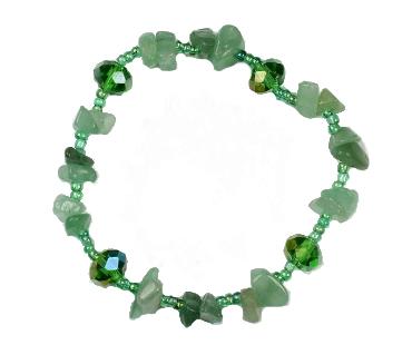 Grön aventurin enkelt armband, mineralsten och pärlor - Stress