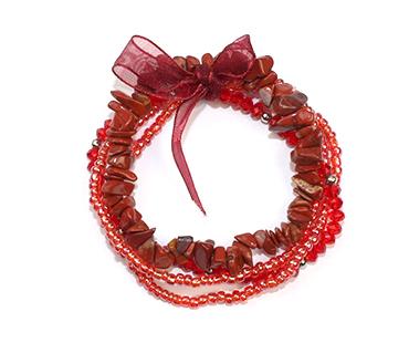Röd jaspis - flera armband - mineralsten och pärlor - Skydd