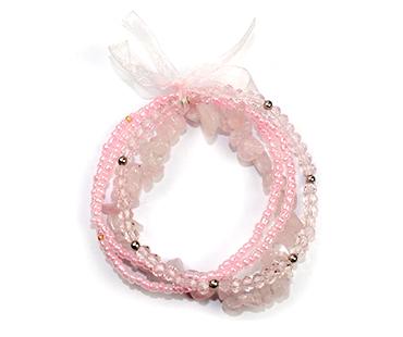 Rosenkvarts - flera armband - mineralsten och pärlor - Kärlek