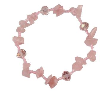Rosenkvarts - enkelt armband - mineralsten och pärlor - Kärlek