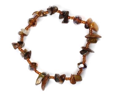 Tigeröga - mix med pärlor enkelt armband - mineralsten -  Optimism