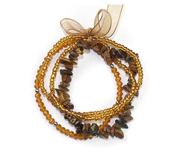 Tigeröga - flera armband - mineralsten och pärlor -  Optimism