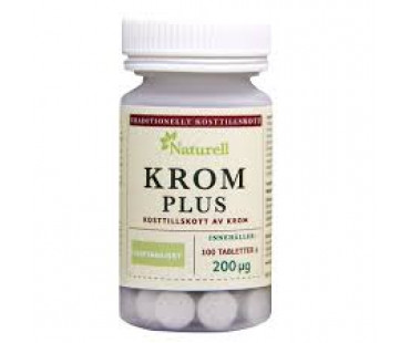 Krom Plus, Naturell. 200 µg - 100 tabletter