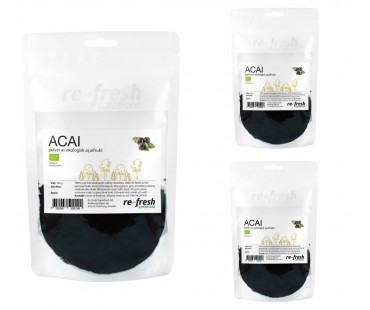 Açaípulver EKO, Re-fresh Superfood. 100 g, 3-PACK