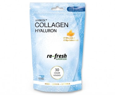 Collagen Hyaluron + C-vitamin, Re-fresh Superfood. 30 dagar högdos