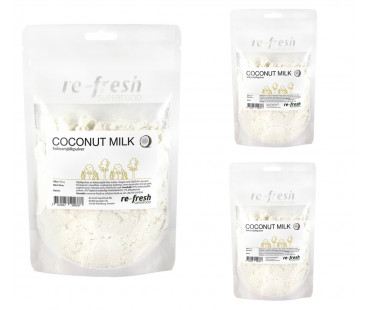 Coconut Milk Powder, kokosmjölkspulver,  Re-fresh Superfood. 150 g 3-PACK! KORT DATUM