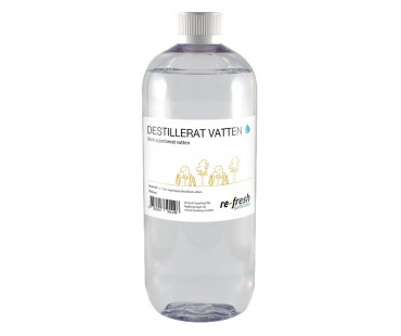 Destillerat avjoniserat vatten 1 liter (bl a för nedspädning av H2O2)