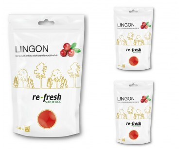 Lingonpulver, Re-fresh Superfood. 125 g 3-PACK