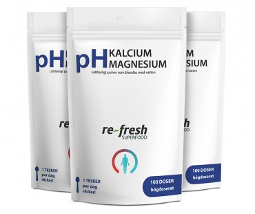 pH Kalcium + Magnesium, Re-fresh Superfood. X 3-PACK