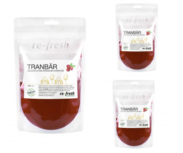 Tranbärspulver, Re-fresh Superfood. 100 g, 3-PACK!