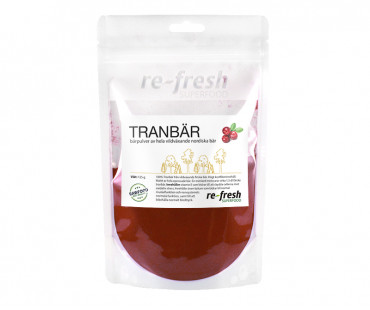 Tranbärspulver, Re-fresh Superfood. 125 g