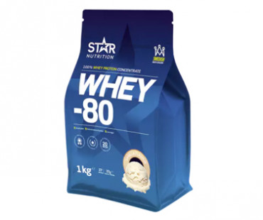Whey- 80 Vassleprotein Vanilj, Star nutrition. 1 kg