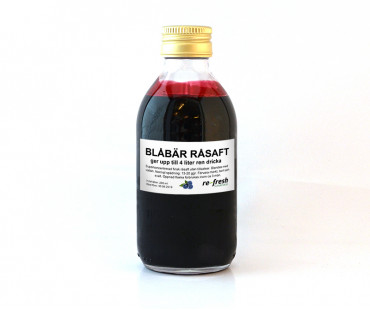 Råsaft blåbär Superkoncentrat, Re-fresh Superfood. 200 ml - ger ca 4 l ren blåbärsjuice!