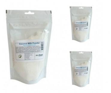 Coconut Milk Powder, kokosmjölkspulver,  Re-fresh Superfood. 150 g 3-PACK!