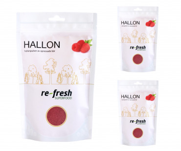 Hallonpulver, Re-fresh Superfood. 125 g, 3-PACK