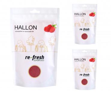 Hallonpulver, Re-fresh Superfood. 125 g, 3-PACK